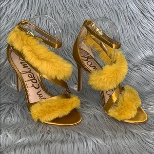 Sam Edelman fur & satin strapy sandal heels yellow